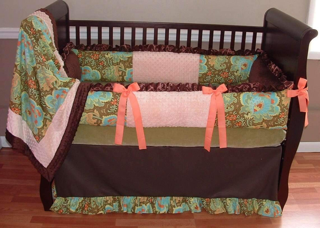 Coral & Brown Aspen Crib Bedding