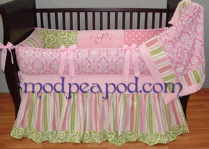 Pink & White Damask with Green Trim Ava Ruffled Crib Bedding