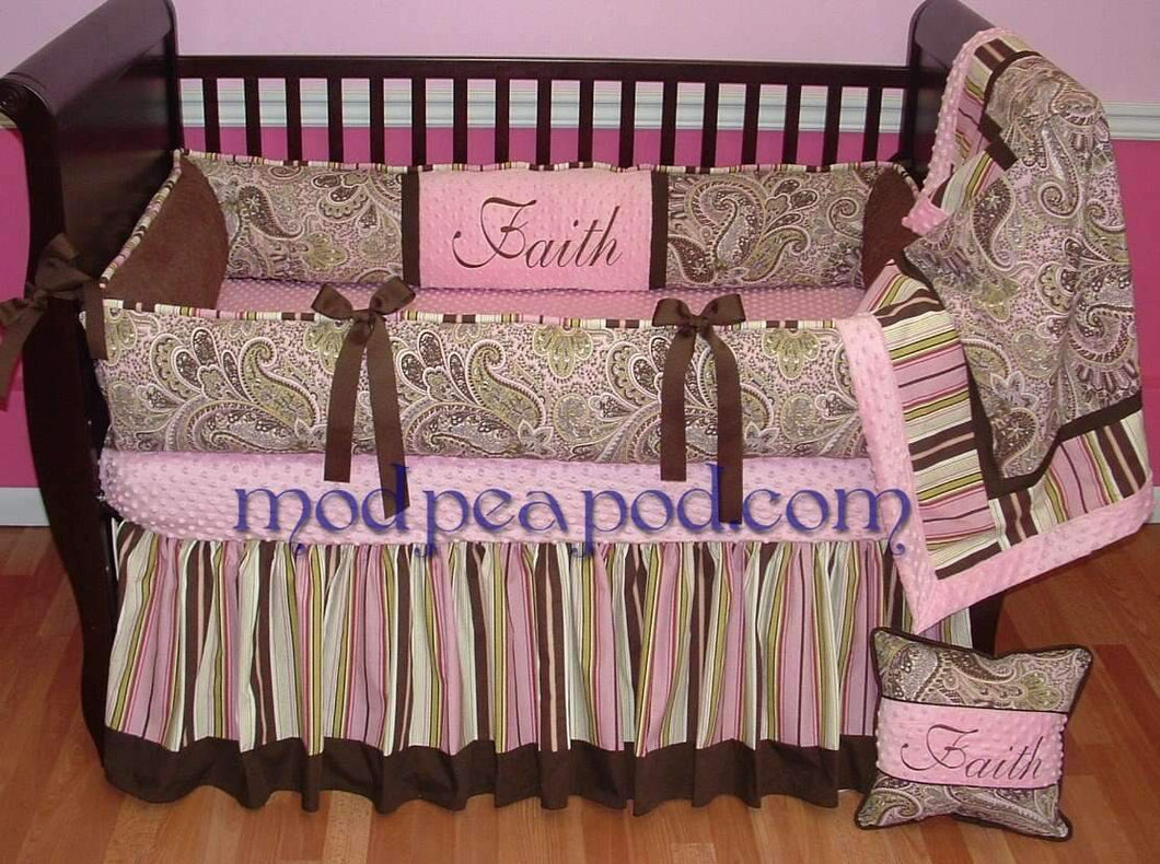 Brown & Pink Avery Pink Paisley Crib Bedding