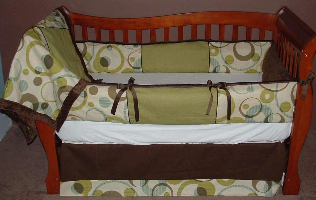 Olive & Brown Encircle Crib Bedding