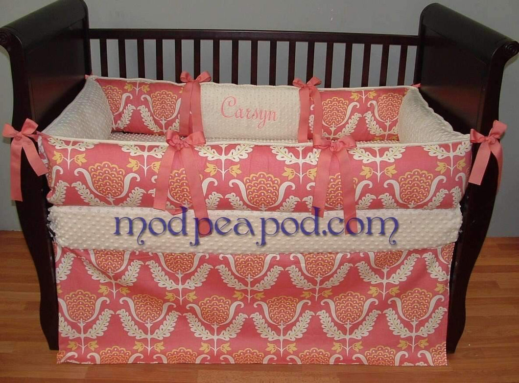 Coral & Cream Azalea Crib Bedding~Only 2 Available