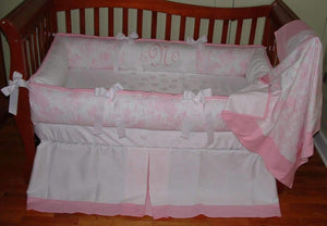Pink & White Toile Crib Bedding
