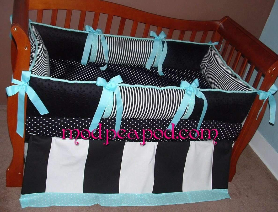 Aqua & Black Bailey Crib Bedding - Aqua can be changed to any color