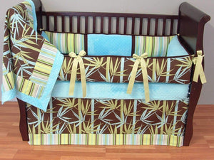 Brown & Aqua Bamboo Crib Bedding