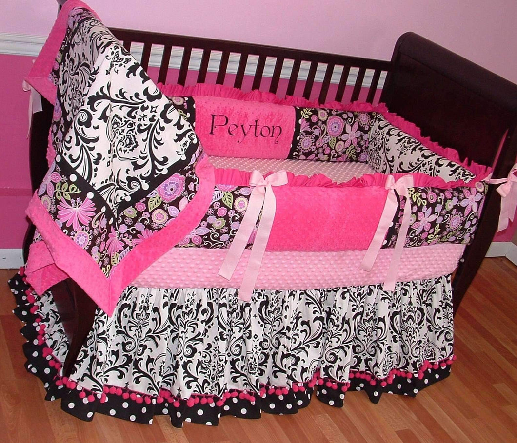 Pink with White & Black Damask Bella Crib Bedding~ALMOST SOLD OUT