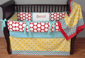 Red, Teal & Mustard Big Top Crib Bedding