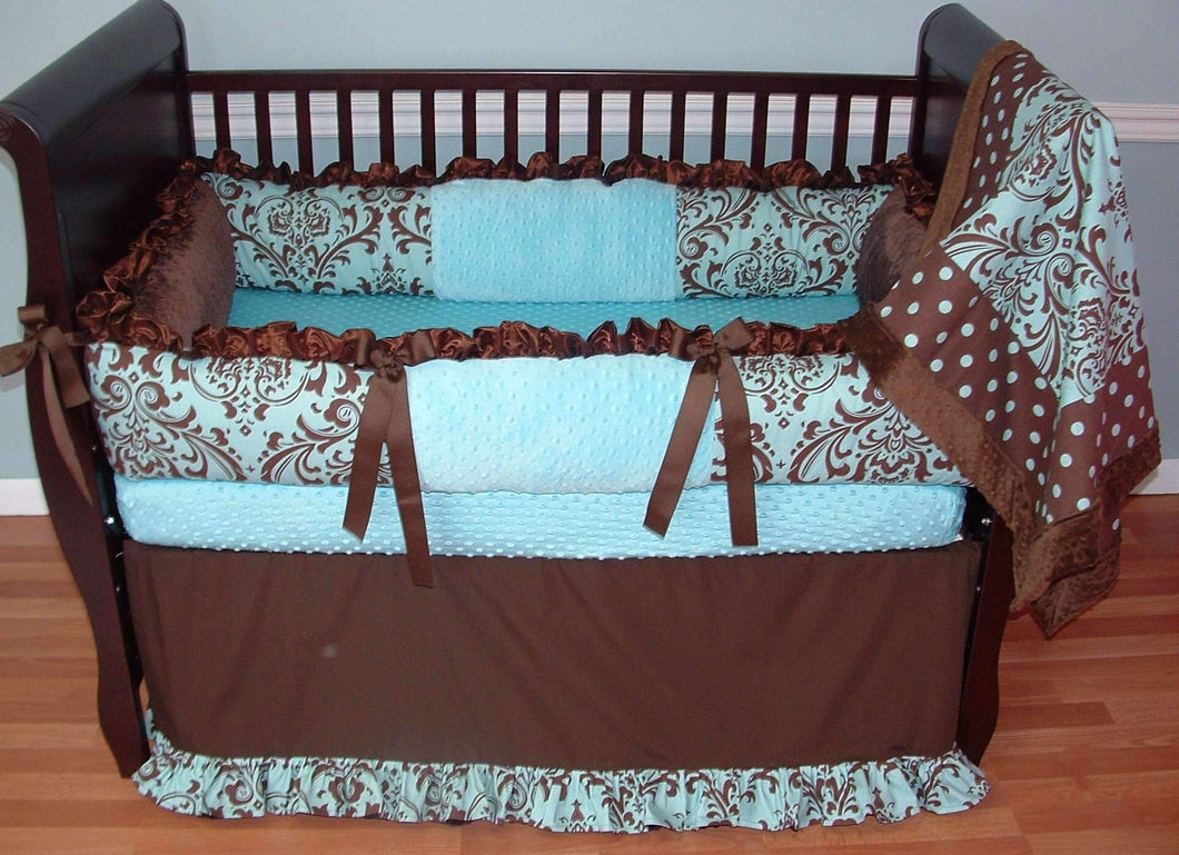 Blue & Chocolate Damask Crib Bedding