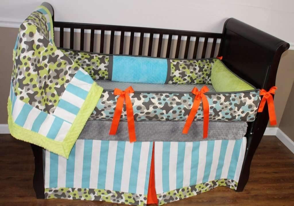 Blue & Green | Stripes & Camo Brady Crib Bedding