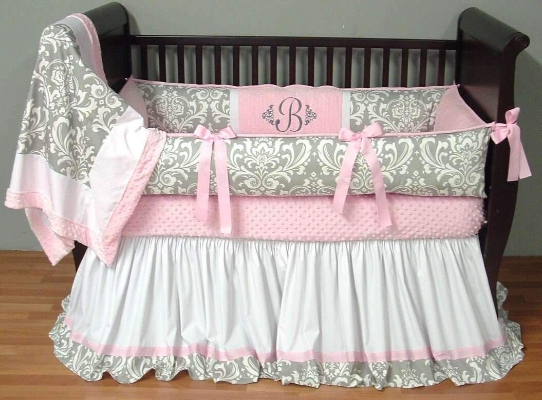 Grey & Pink Brooklyn Damask Bedding