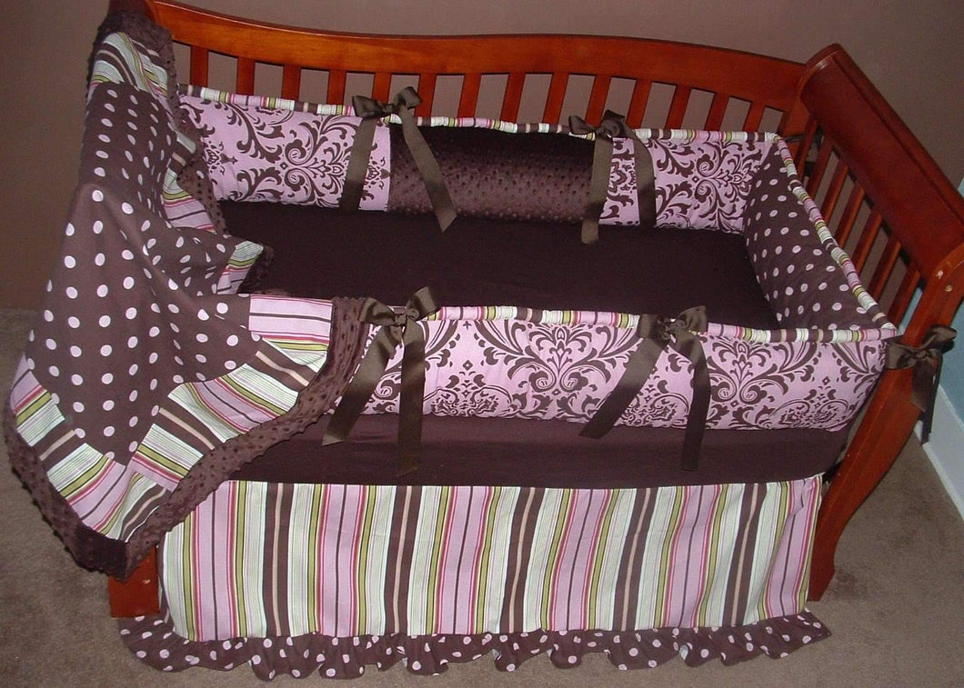 Brown & Pink Satin with Solid Bumper Crib Bedding