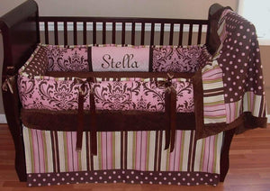 Brown & Pink | Paisley & Stripes Crib Bedding