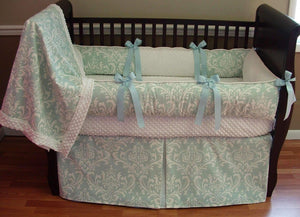 Teal & White Caden Damask Crib Bedding