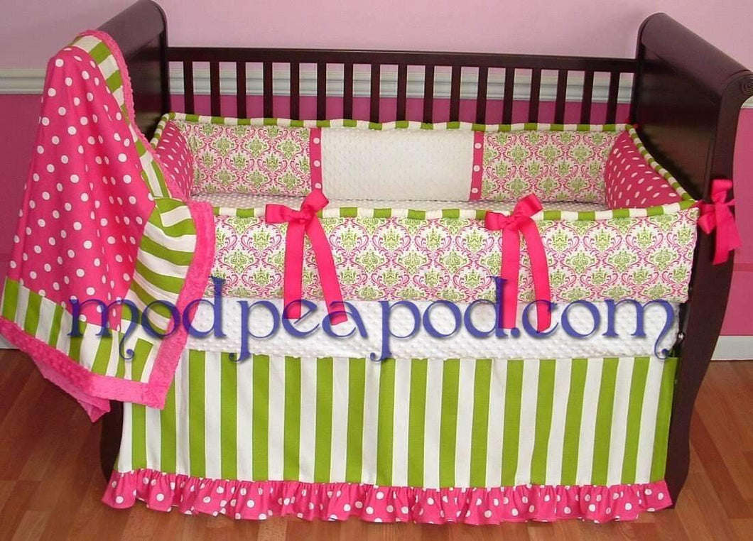 Pink & Green Candy Apple Crib Bedding