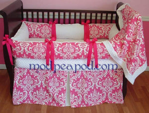 Pink and White Candy Damask Crib Bedding