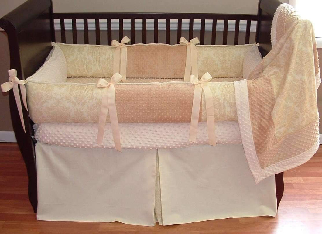 Cream & Minky Caramel Crib Bedding