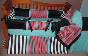 Teal, Black & Red Caribbean Crib Bedding