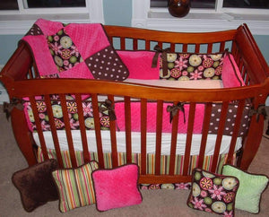 Pink and Brown Carnival Bloom Crib Bedding