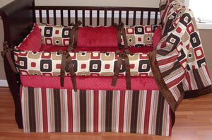 Red Brown and Cream Carson Crib Bedding