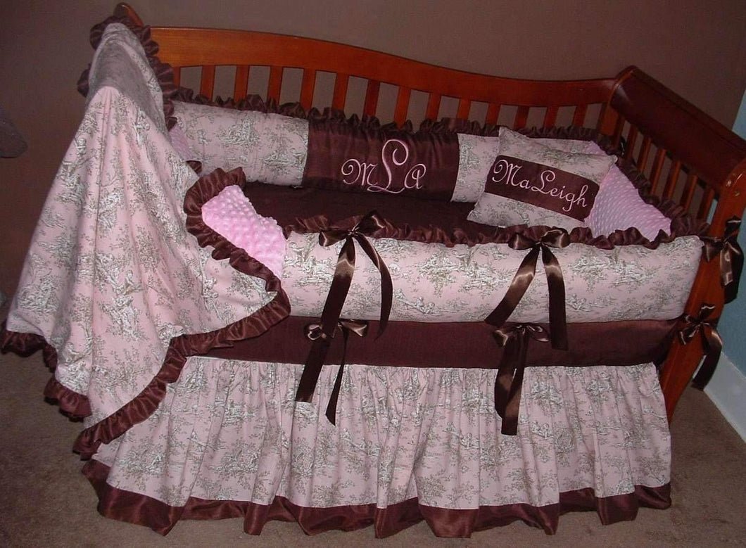 Pink and Brown Central Park Blush Crib Bedding