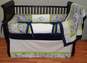 Navy Blue, White & Green | Paisley & Stripes Charlie Crib Bedding