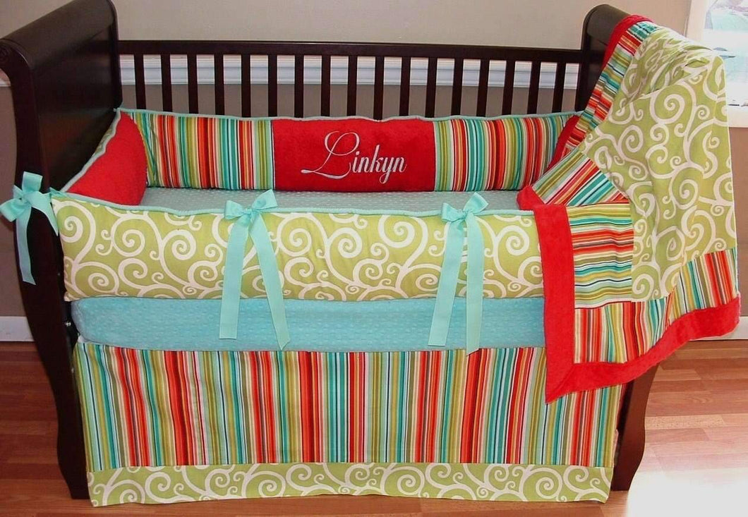 Green, Teal & Red | Swirls & Stripes Citron Crib Bedding
