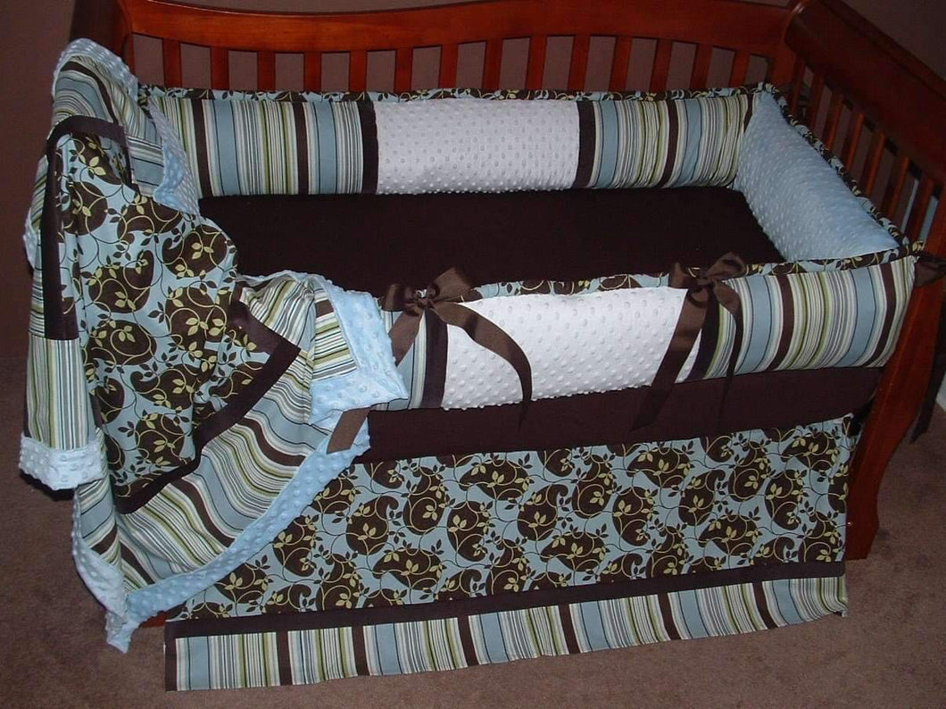 Blue, Brown & Green | City Boy Leaves Crib Bedding