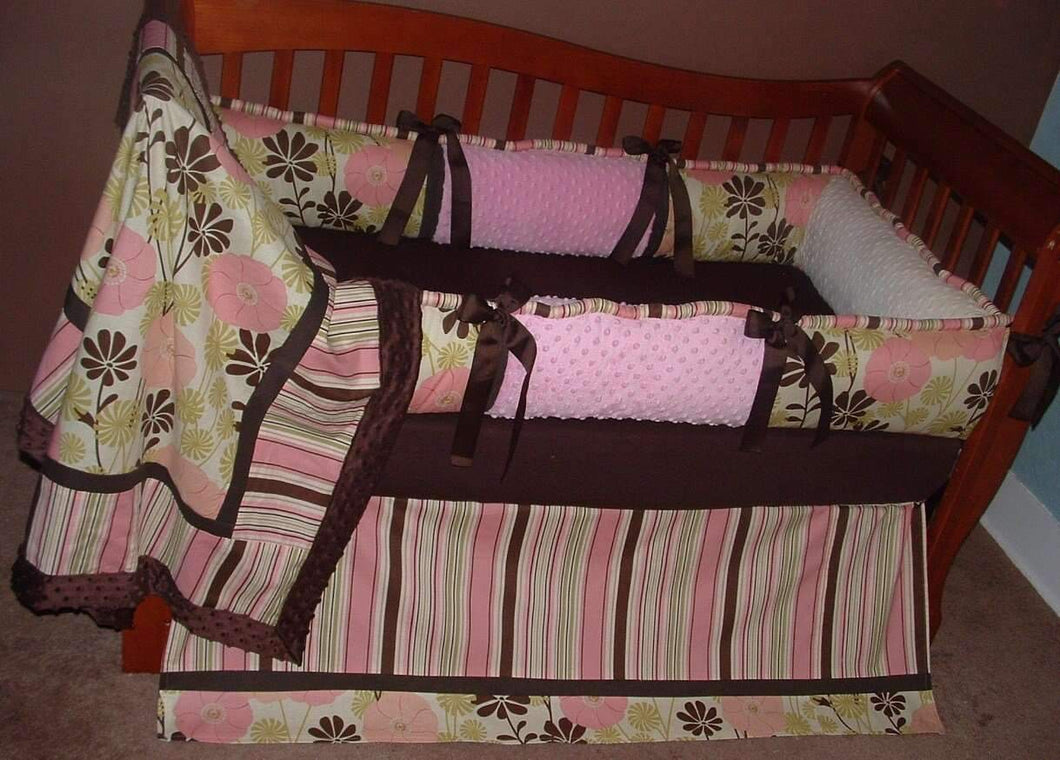 Pink & Brown City Girl Floral Crib Bedding