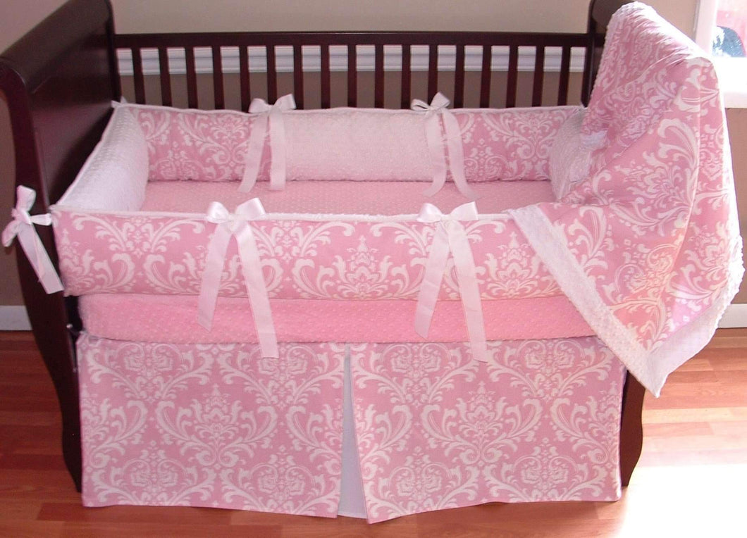 Pink & White Damask Clara Crib Bedding