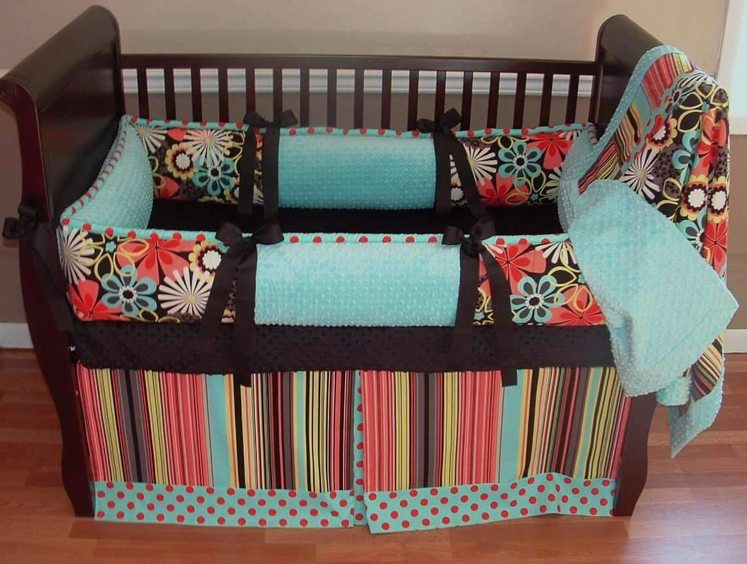Baby Blue & Coral | Clementine Crib Bedding