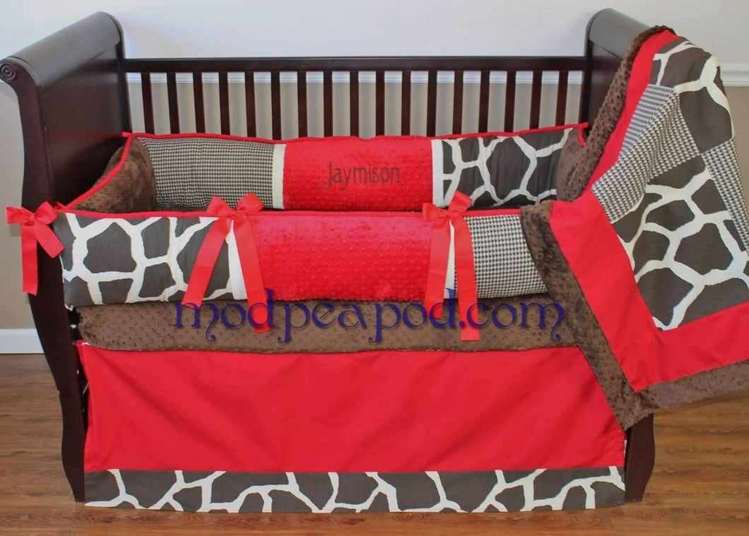 Red & Brown Cole Red Crib Bedding