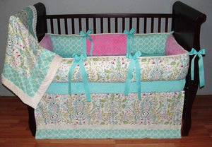 Pink & Blue | Floral Courtney Crib Bedding
