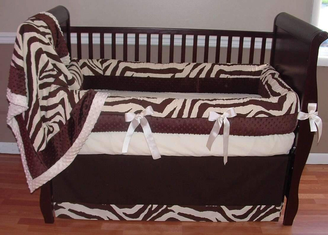 Cream & Chocolate Zebra Crib Bedding