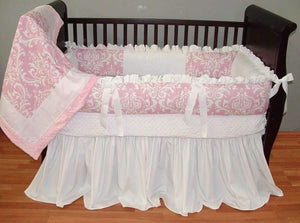 Pink & White Damask | Daisy Crib Bedding