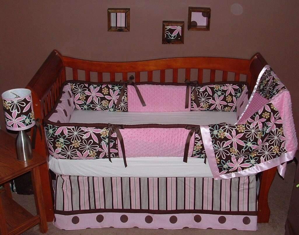 Pink & Brown | Floral Daisy Dream Crib Bedding