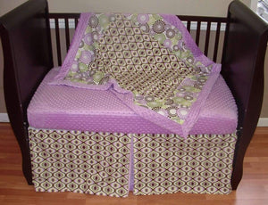 Purple Deco Crib Bedding