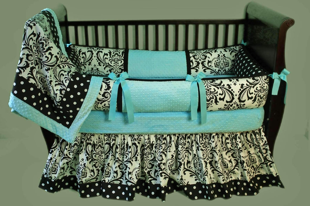 Aqua, White & Black | Damask & Polka Dots Delaney Crib Bedding