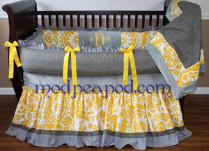 Grey & Mustard | Delilah Crib Bedding
