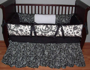 White & Black | Floral & Paisley Desmond Crib Bedding