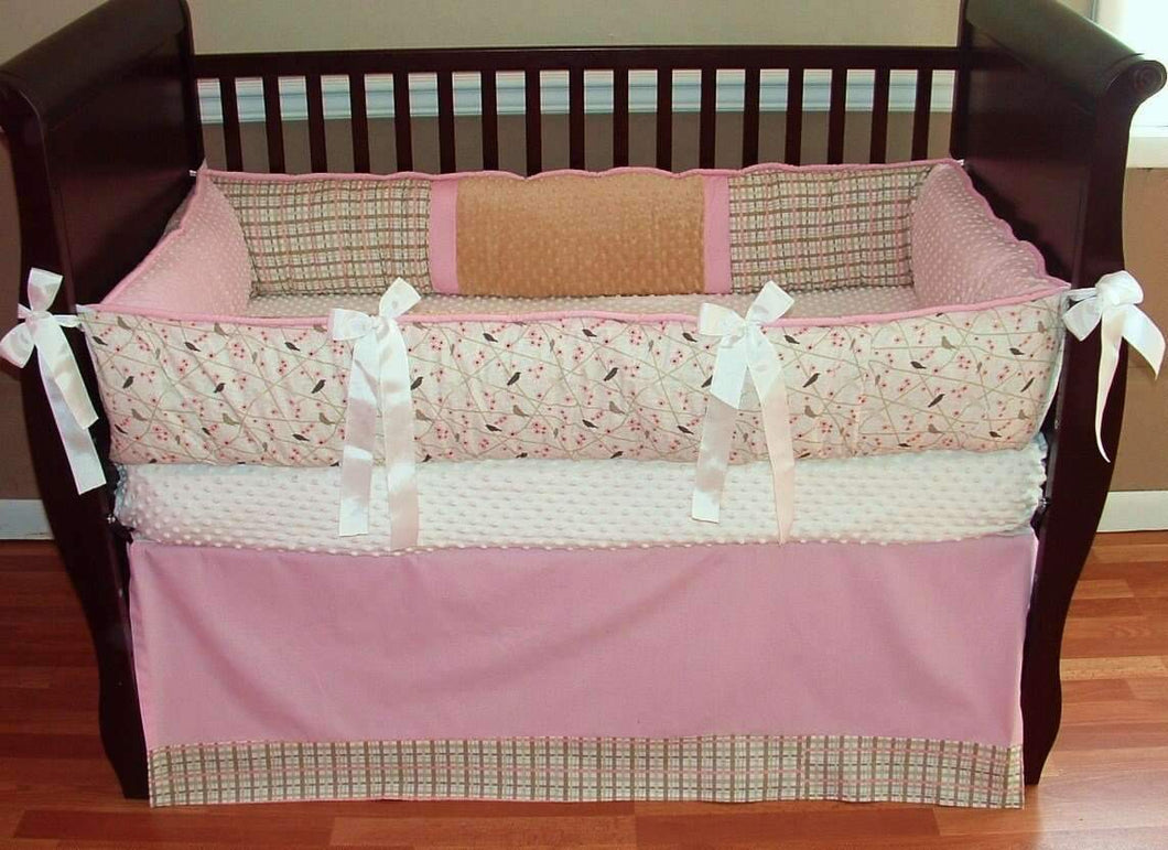 Pink & Tan Dogwood Crib Bedding