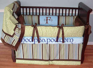 Green & Brown | Stripes Doodle Boy Crib Bedding