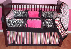 Pink & Black Ella Crib Bedding