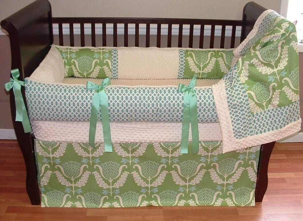 Green & Blue Ellie Crib Bedding