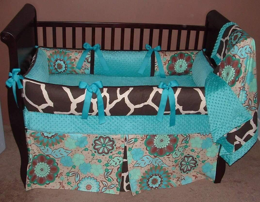 Blue & Brown | Giraffe & Floral Emerald City Crib Bedding