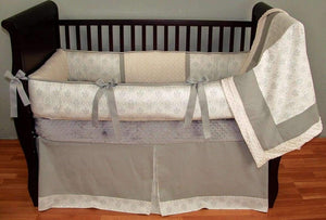 Tan & White | Emery Natural Crib Bedding