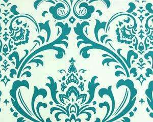 Teal White Damask