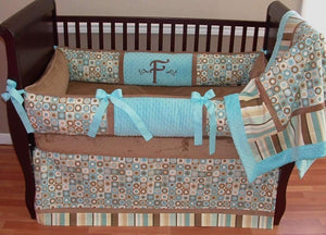 Brown & Blue | Floral Fallon Crib Bedding