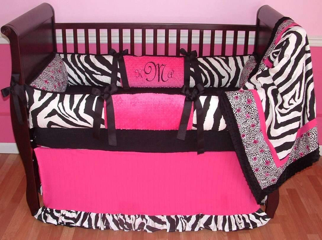 Fuchsia Zebra Crib Bedding