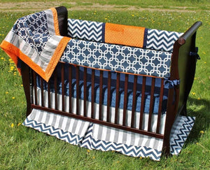 Blue & Orange | Garrett Crib Bedding Collection