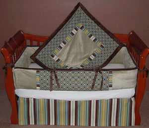 Tan & Brown | Geo Crib Bedding