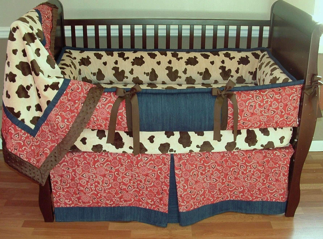 Cream & Brown Giddy Up Cowboy Crib Bedding